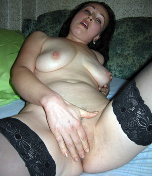 Amateur brunette wife wearing only..