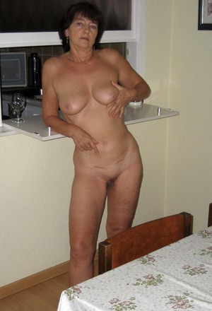 Shaved pussy and still firm breasts