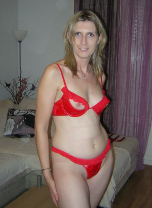 Sexy mature women just in red lingeries
