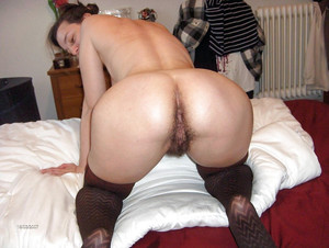Naked granny in black stockings..