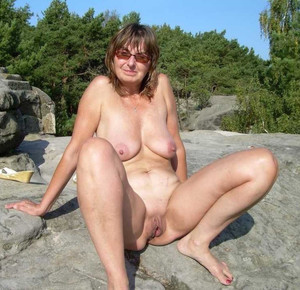 Slutty grandma posing nude outdoor, on..