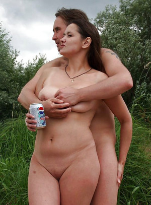 Mature nudist couple on the public..